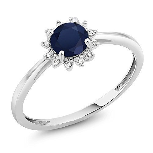 Gem Stone King 10K White Gold Blue Sapphire and Diamond Women Engagement Ring (0.60 Ct Round, Available 5,6,7,8,9) (Size 5) (White Engagement 10k Gold Rings)
