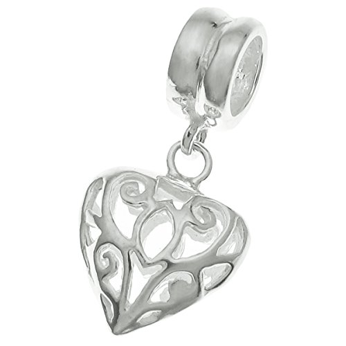 Pendant Slide Silver Heart Sterling (925 Sterling Silver Heart Love Dangle Bead For European Charm Bracelets)