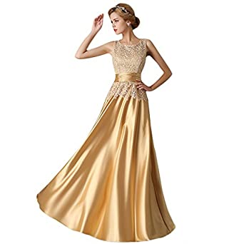 Vimans long elegant a line lace prom gown gold dresses for Amazon wedding guest dress