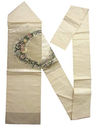 切断する考古学者磁気リサイクル 名古屋帯  鴛鴦に唐花模様 螺鈿