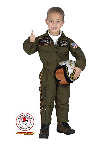 Jr. Armed Forces Pilot Suit with Helmet, size (Jr Flight Suit Kids Costumes)