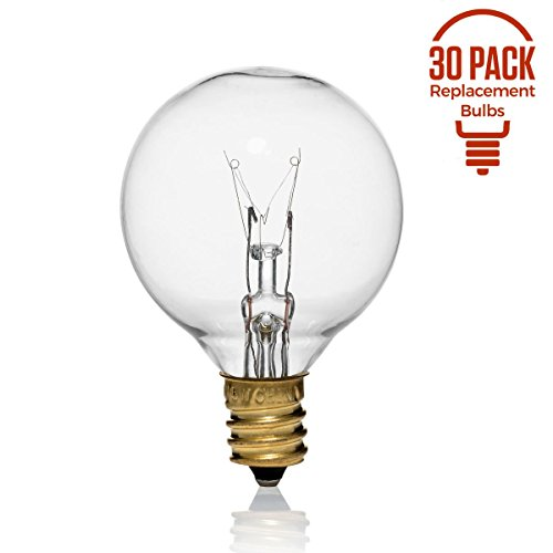 30 Pack of G40 Replacement Bulbs, 5 Watt G40 Globe Bulbs for String Lights, Candelabra Screw Base, Fits E12 and C7 Sockets, Indoor-Outdoor Use, Clear Glass G40 Bulbs, Secure and Convenient Packaging ()