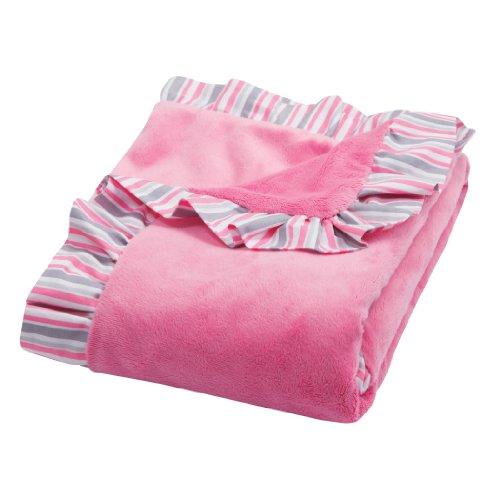 Pink Velour Receiving Blanket - Trend Lab Ruffle Trimmed Receiving Blanket, Pink Lily