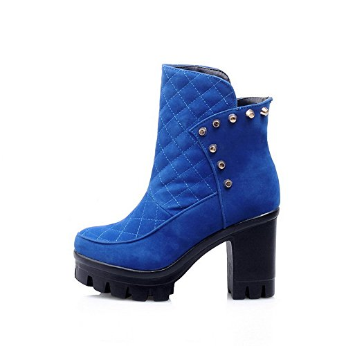 AllhqFashion Mujeres Sólido Plataforma Tacón Alto Sin cordones Puntera Redonda Botas Azul