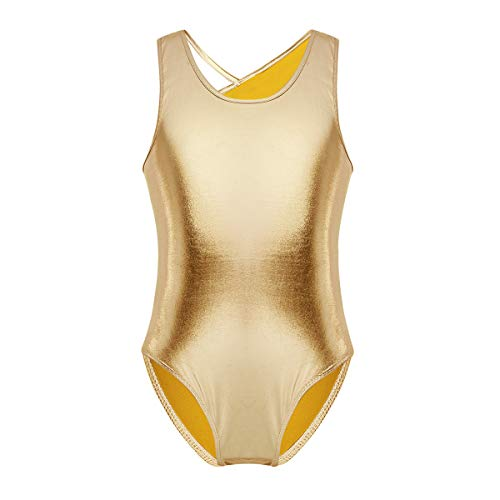 Metallic Camisole Leotard - inlzdz Girls Metallic Criss Cross Backless One-Piece Gymnastics Leotard Tank Athletic Unitard Dance Costume Gold 8-10