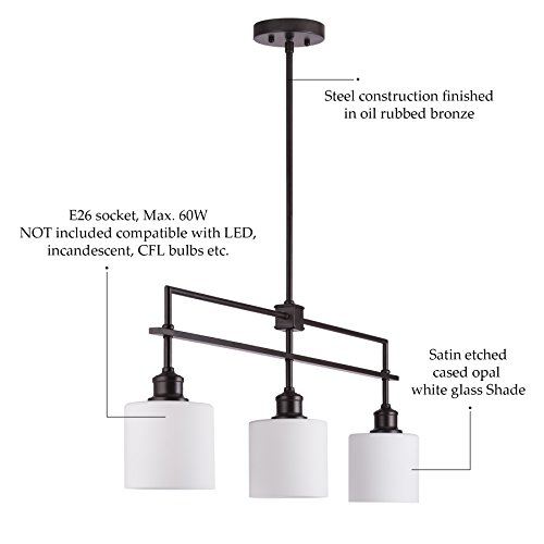 CO-Z Oil Rubbed Bronze Kitchen Island Lighting, 3-Light Linear Pendant Island Chandelier for Billiard Pool Table Dining Room Counter Foyer, Modern Hanging Ceiling Light Fixture with Opal Glass Shade by CO-Z (Image #5)
