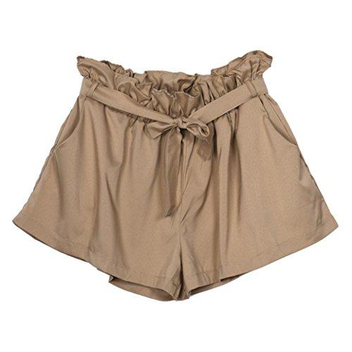 Donne cintura a Casual alta vita Amlaiworld sciolto kaki pantaloncini Design con ATdnzAwqg