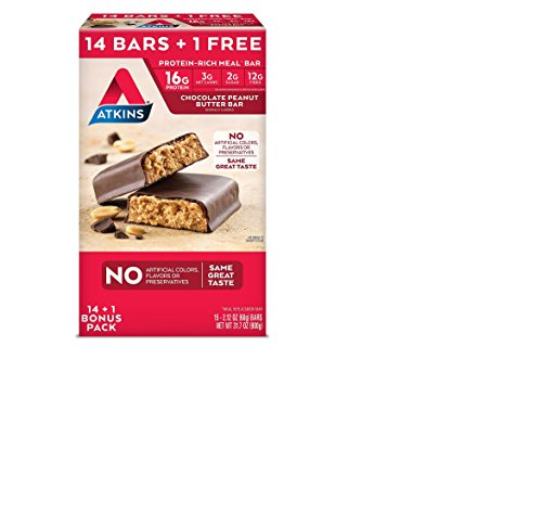 Atkins 15ct Chocolate Peanut Butter Bars Club Pack Meal Bars by Atkins