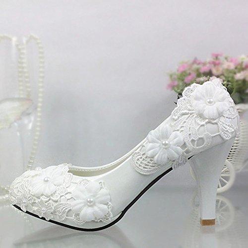 Blanc UK6 JINGXINSTORE Fleur dentelle blanche chaussures de mariage perle rouge talons hauts Chaussures de mariée Chaussures pour femmes Chaussures de demoiselle