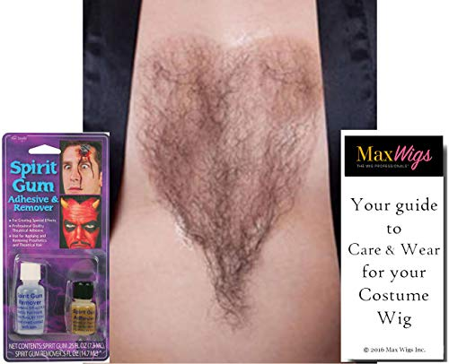 Chest Hair Color Brown - Sepia Costume Wigs Fake Bushy Human Hair Fiber Macho Man She-Man Cosply Merkin Dress Fancy #947 Bundle Spirit Gum Combo, Maxwigs Wig Care -
