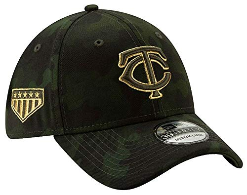 New Era 2019 MLB Minnesota Twins Hat Cap Armed Forces Day 39Thirty 3930 (M/L) Green/Gold