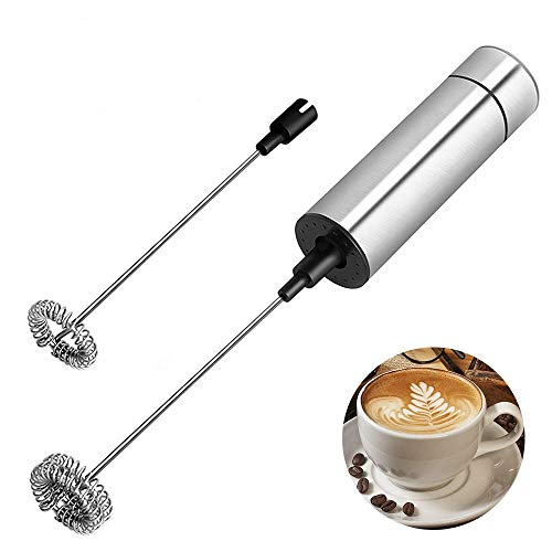 Electric Milk Frother Handheld - Battery Operated Electric Foam Maker For Coffee, Latte, Cappuccino, Hot Chocolate, Additional Single Spring Whisk Head