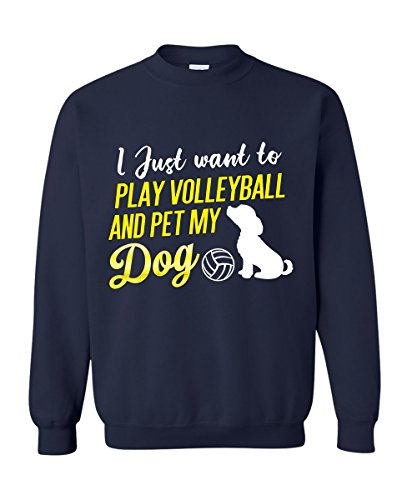Dolphintee Love Dog And Volleyball Funny Sweater I Just Want To Play Volleyball And Pet My Dog Picture