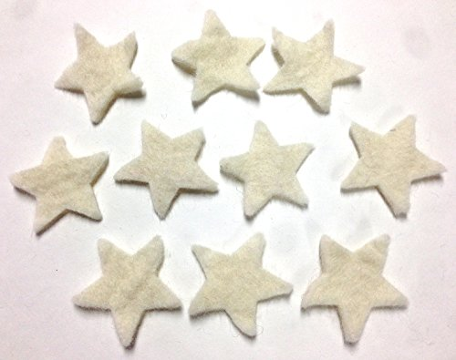 Yarn Place Felt Wool Felted Die Cut Stars 10 Pieces Color: White Size: 60mm x 60mm