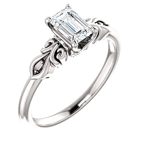 Amazon.com: Emerald Cut Antique Style Diamond Engagement