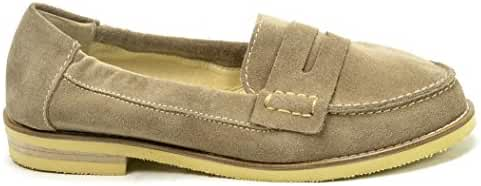 Ogswideshoes Cha'risa Beige Soft Suede Flats Moccasins Extra Wide Fit