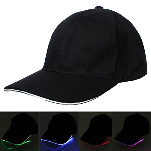 [Bonamana LED Light Fashion Cool LED Baseball Caps Fedora Jazz Cap Luminous Noctilucent Flash Hat For Travel Sports (Colorful)] (Baseball Catcher Halloween Costume)