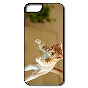 IPhone 5 Cases, Jumping Cat Cover For IPhone 5 - White/black Hard Plastic