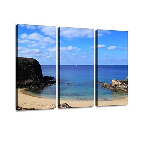 Playa Papagayo in Lanzarote, Canary Islands Print On Canvas Wall Artwork Modern Photography Home Decor Unique Pattern Stretched and Framed 3 Piece