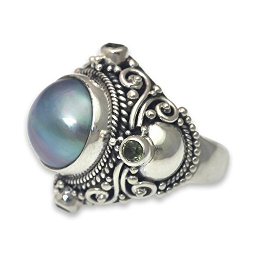 - NOVICA Peridot Dyed Blue Cultured Mabe Pearl .925 Sterling Silver Cocktail Ring, Regal Blue Glory'