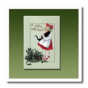 ht_153421_3 BLN Vintage Christmas Designs - A Jolly Christmas Little Girl Holding a Black Cat with a Basket of Holly Leaves and Berries - Iron on Heat Transfers - 10x10 Iron on Heat Transfer for White Material