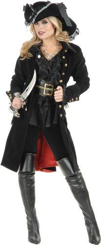 Women Pirate Costumes (Charades Women's Pirate Vixen Jacket, Black, Medium)