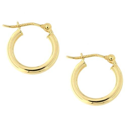 10k Gold Circle Hoop Earrings (10k Yellow Gold 2mm Hoop Earrings,)