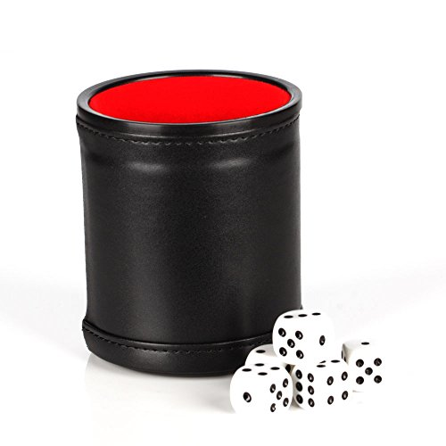 Delta-shop Felt Lined Professional Dice Cup with 5 Dice Quiet for Yahtzee Game (Black)