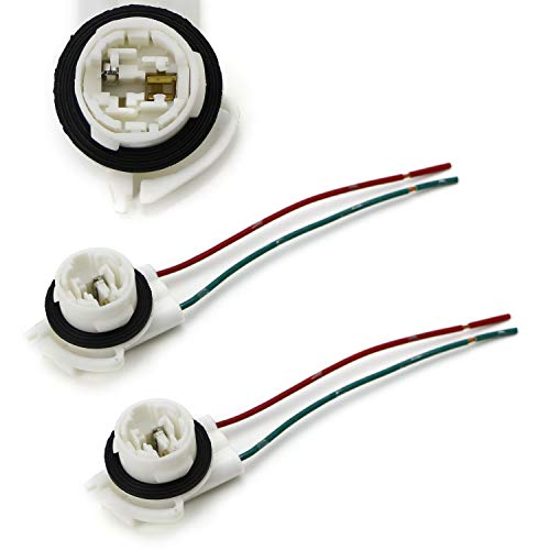 iJDMTOY (2) 3156 2-Wire Harness Pre-Wired Sockets For Repair, Replacement, Install LED Bulbs For Turn Signal Lights, DRL Lamps or Taillights