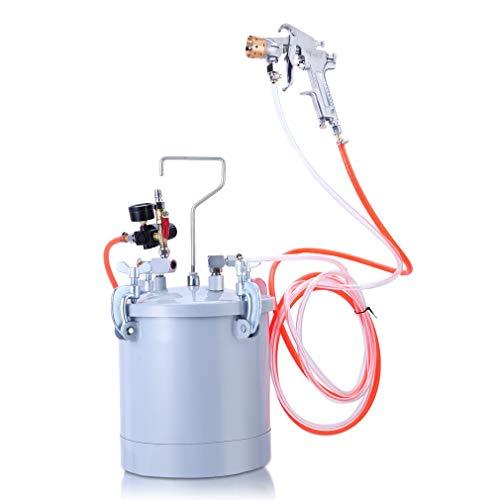 10L Pressure Tank Paint Spray Gun W77,Pressure Gauge & Spray Gun with Hoses