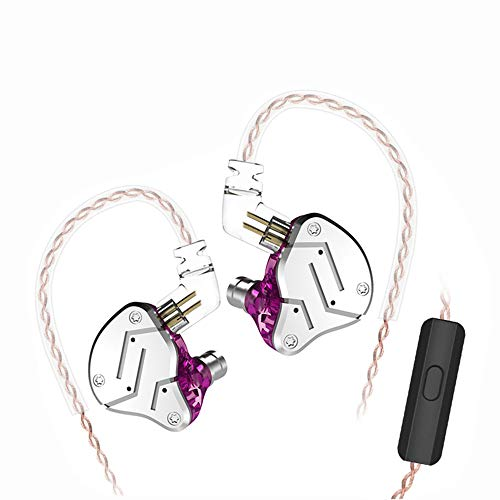 KZ ZSN Wired Earphones Yinyoo Extra Bass High Fidelity Earbuds with Hybrid Balanced Armature Driver & 3.5mm Audio Plug Detachable Cable Noise Isolating Headset Headphones for Sports(Purple mic)