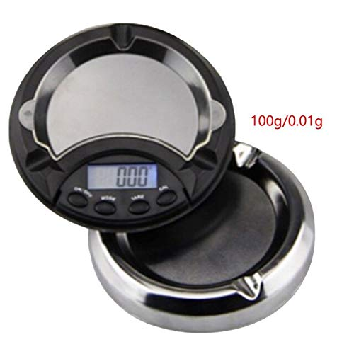 FITIONS - 100/200/300/500g x 0.01g LCD Digital Jewelry Scales for Gold Sterling Silver Scale Ashtray Mini Pocket Balance Electronic Scales