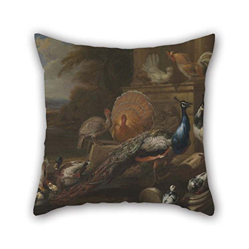 Oil Painting Marmaduke Cradock - Peacocks, Doves, Turkeys, Chickens And Ducks By A Classical Ruin Throw Pillow Covers 16 X 16 Inches / 40 By 40 Cm For Kitchen Home Birthday Couples Birthday Saloon