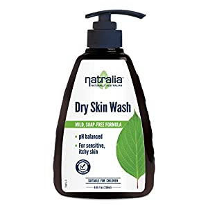 Natralia Dry Skin Wash, 8.45 fl oz. Gentle, fragrance-free body/hand cleanser for dry, sensitive, rough, itchy, or flaking skin, with coconut oil, glycerin, Jasmine, Almond Oil & Clary Sage. Unscented