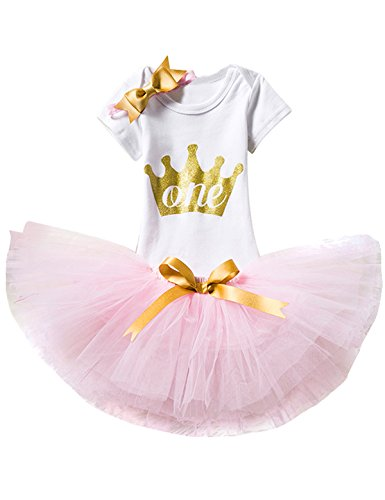 TTYAOVO Baby Girl 1st Birthday 3pcs Sets with Golden Bow Headband & Romper & Skirts Size 1 Years Pink -
