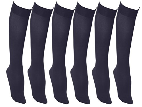 (Women's Trouser Socks, 6 Pairs, Opaque Stretchy Nylon Knee High, Many Colors )