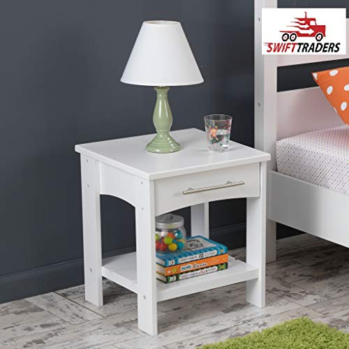 - Wooden Addison nightstand Twin Side Table Features Two Surfaces for a Clock, Table lamp and Bedtime Reading in Espresso with HandSaver Gloves Included