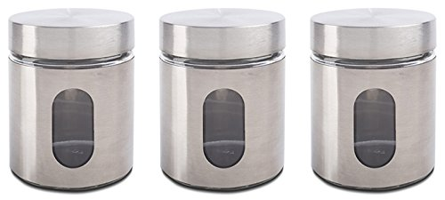 Priority Chef Tea, Coffee, Sugar Jars, Set of 3 Glass Canisters in Silver Metal Overlay, Screw Top, Perfect Storage Solution, Also Ideal for Cookies, Beans - Collection Tea Storage Jar