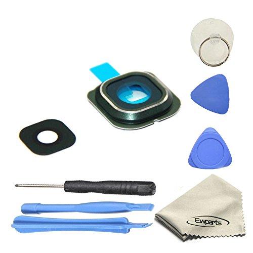 EWPARTS for Samsung galaxy S6 edge Hinter Kamera abdeckung Kamera Objektiv Abdeckung Ringe Glas + Aufklebers + Werkzeuge + Reinigungstuch (grün)