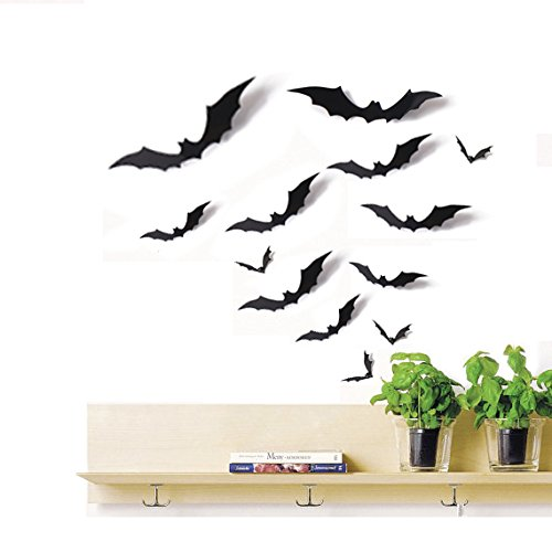 Moon Boat 24 PCS Bat Cutouts 3D Assorted Sizes Black - Halloween Party Home Wall Sticker Decoration Supplies -