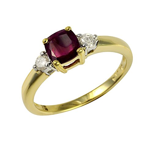 Ivy Gems 9ct Yellow Gold Ruby and Diamond Square Cut Solitaire Ring - Size...