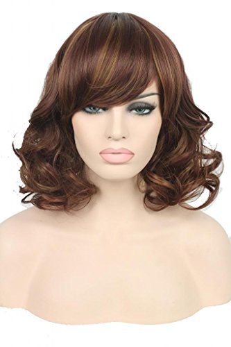 Nouqi® Womens 35cm Short Wine Red Mixed Light Brown Wave Cosplay Wig