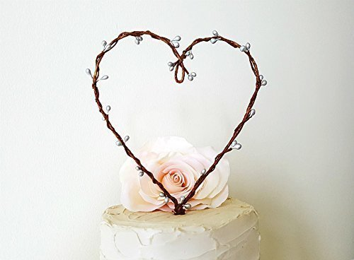 Rustic Silver Pip Berry Heart Wreath Wedding Cake Topper by AntoArts