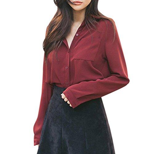 zahuihuiM Femmes Printemps Automne Mode Nouveau T-Shirt Solide Bouton V-Cou  Manches Longues Formelle Bureau De Travail Chemise Casual Tops Blouses Rouge