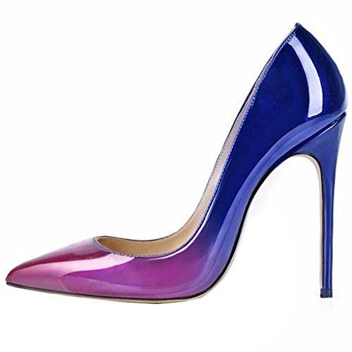 Women's High Heel Stiletto Pointed Toe Pumps (Purple) - 1