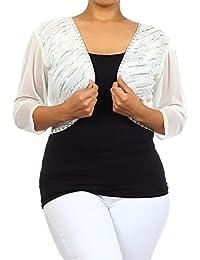 Spring Sale Clearance Women Plus Size Shrug 3/4 Sheer Sleeve Sequin Cropped Bolero