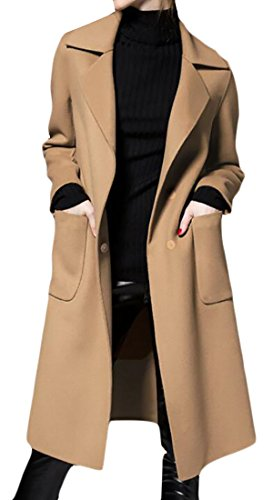 GAGA Women's Business Casual Loose Solid Color Pocket with Belt Trench Coat Camel XXS by GAGA-women clothes