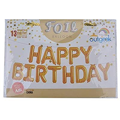 Happy Birthday Balloons, OUTGEEK Happy Birthday Banner Foil Letters Balloons Mylar Balloons for Birthday Party Decoration: Toys & Games