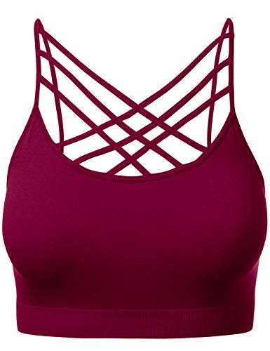 Women's Novelty Bras Criss-Cross Front Seamless Triple Bralette Sports Bra Cabernet 2XL3XL