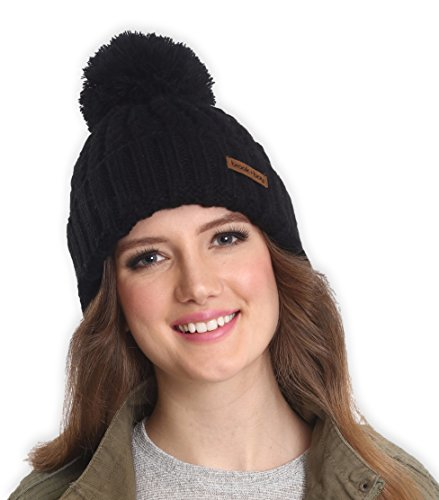 Brook + Bay Women's Pom Pom Beanie - Thick, Soft & Warm Cable Knit Beanie Hats for Winter - Serious Beanies for Serious Style
